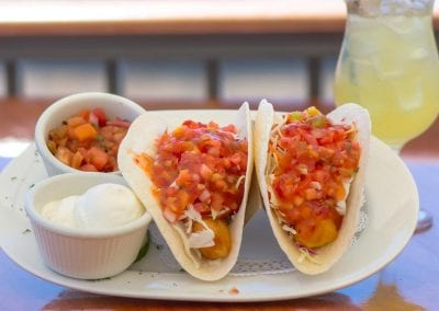 Cape May restaurant tacos covered in pico with a margarita