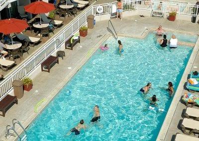 Montreal Beach Resort pool full of happy guests.